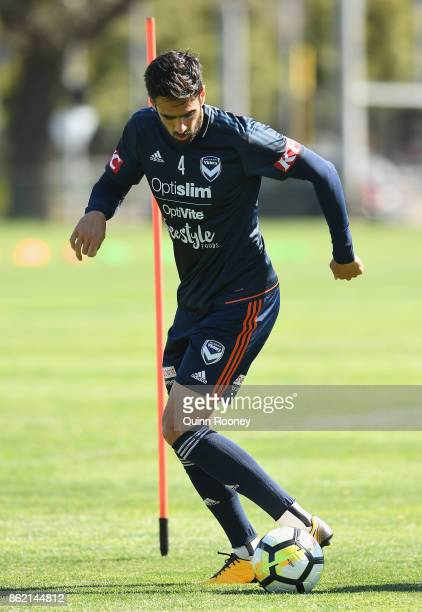 Rhys Williams of the Victory controls the ball during a Melbourne Victory ALeague training session at Gosch's Paddock on October 17 2017 in Melbourne...
