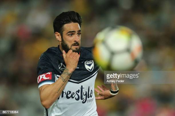 Rhys Williams of the Victory in action during the round four ALeague match between the Central Coast Mariners and the Melbourne Victory at Central...