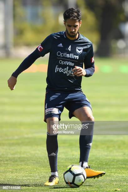 Rhys Williams of the Victory passes the ball during a Melbourne Victory ALeague training session at Gosch's Paddock on October 17 2017 in Melbourne...
