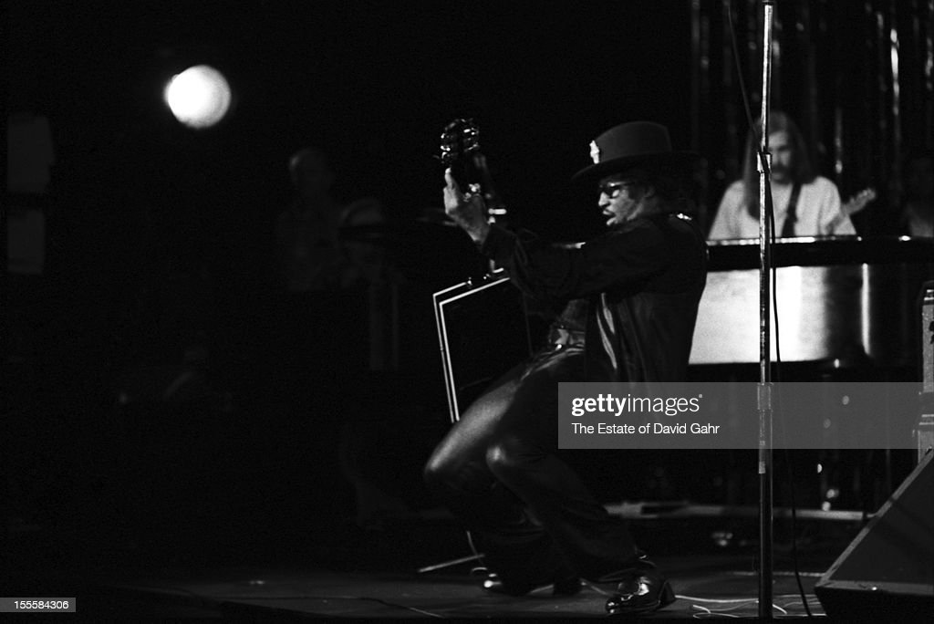 Rhythm and blues singer songwriter and guitarist Bo Diddley performs in November 1972 at Hofstra University in New York City New York