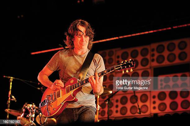 Rhythm guitarist Stone Gossard of American grunge rock group Pearl Jam performing live on stage at the Manchester Evening News Arena on June 21 2012