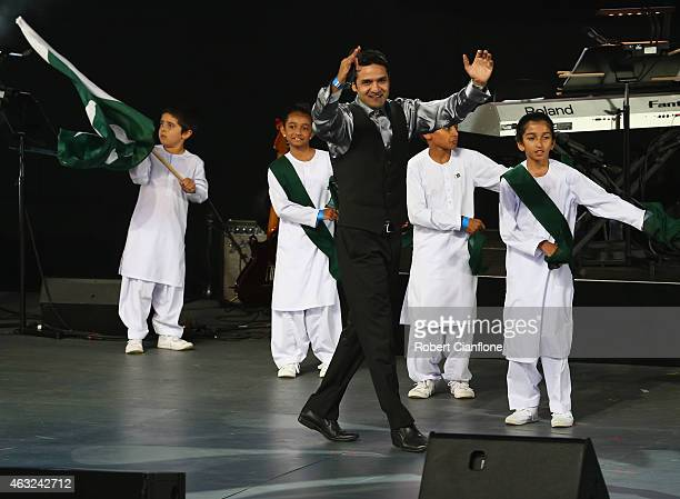 Rhythm of Pakistan perform during the Opening Ceremony ahead of the ICC 2015 Cricket World Cup at the Myer Music Bowl on February 12 2015 in...