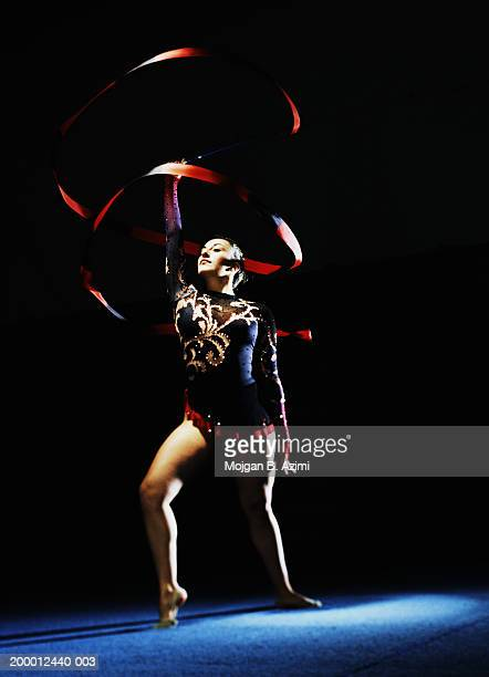 Rhythmic gymnast performing with ribbon