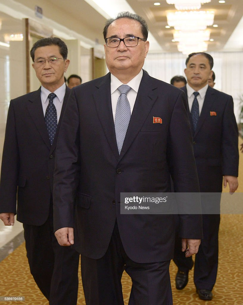 Ri Su Yong (C), vice chairman of North Korea's ruling Workers' Party of Korea, is to leave Pyongyang's international airport for Beijing on May 31, 2016. During a surprise visit to the Chinese capital, seen as a potential sign of Pyongyang's latest attempt to mend fences with its most important ally, Ri is expected to brief Chinese officials on the results of the party's congress, which was held for the first time in 36 years.