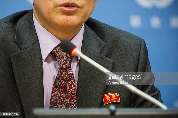 Ri Tongil Deputy permanent representative of North Korea to the United Nations speaks at a news conference at the United Nations while wearing a pin...