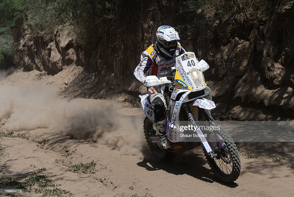 Riaan Van Niekerk of Broadlink KTM Rally Factory Team competes in stage 9 from Tucuman to Cordoba during the 2013 Dakar Rally on January 14 in Tucuman, Argentina.