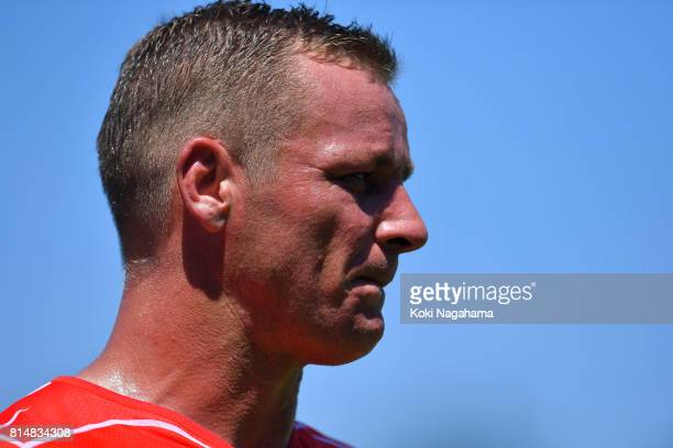 Riaan Viljoen of Sunwolves looks on during the Super Rugby match between the Sunwolves and the Blues at Prince Chichibu Stadium on July 15 2017 in...