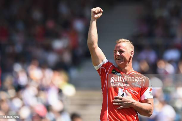 Riaan Viljoen of the Sunwolves celebrates victory after the Super Rugby match between the Sunwolves and the Blues at Prince Chichibu Stadium on July...