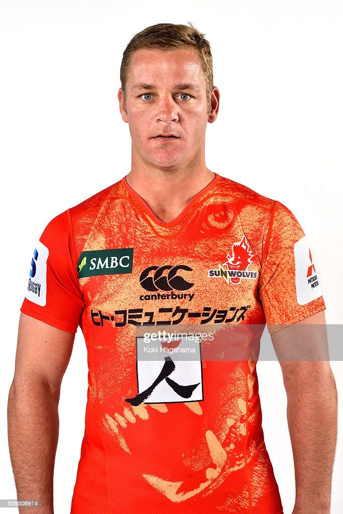 Riaan Viljoen poses during the Sunwolves 2016 Super Rugby headshots session on February 11, 2016 in Tokyo, Japan.