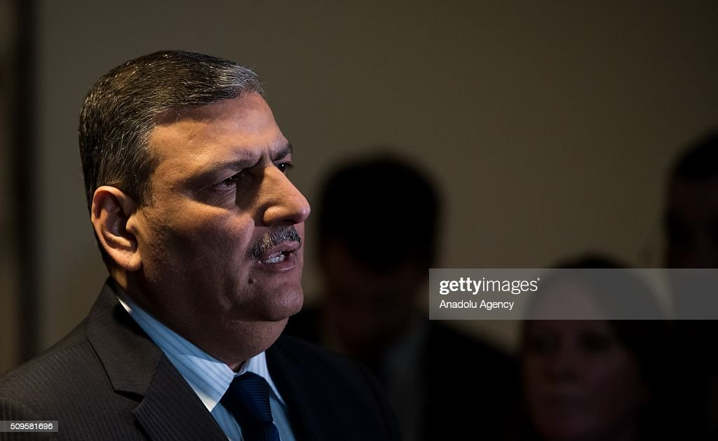 Riad Hijab, chief coordinator of the Syrian opposition High Negotiations Committee (HNC), speaks to journalists ahead of talks of the International Syrian Support Group Meeting in Munich, on February 11, 2016.