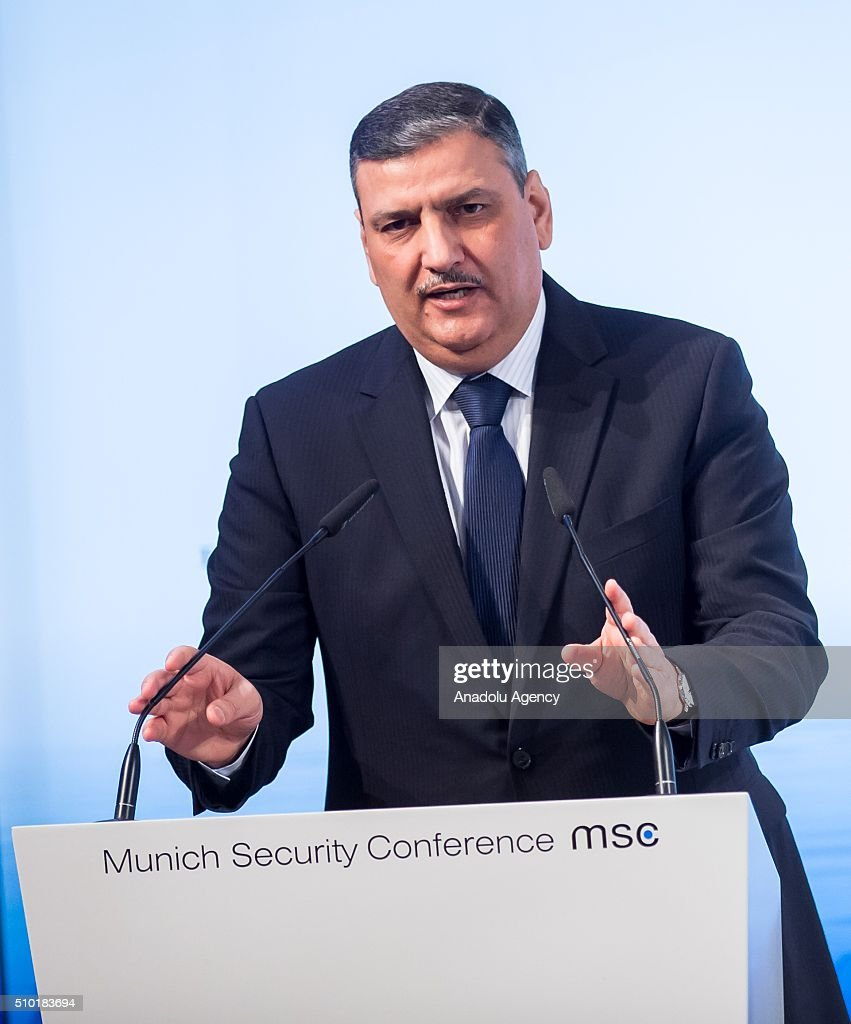 Riad Hijab, chief coordinator of the Syrian opposition High Negotiations Committee (HNC), speaks at the 2016 Munich Security Conference at the Bayerischer Hof hotel on February 14, 2016 in Munich, Germany. The annual event brings together government representatives and security experts from across the globe and this year the conflict in Syria will be the main issue under discussion.