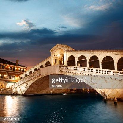 Rialto Bridge in Venice by twilight