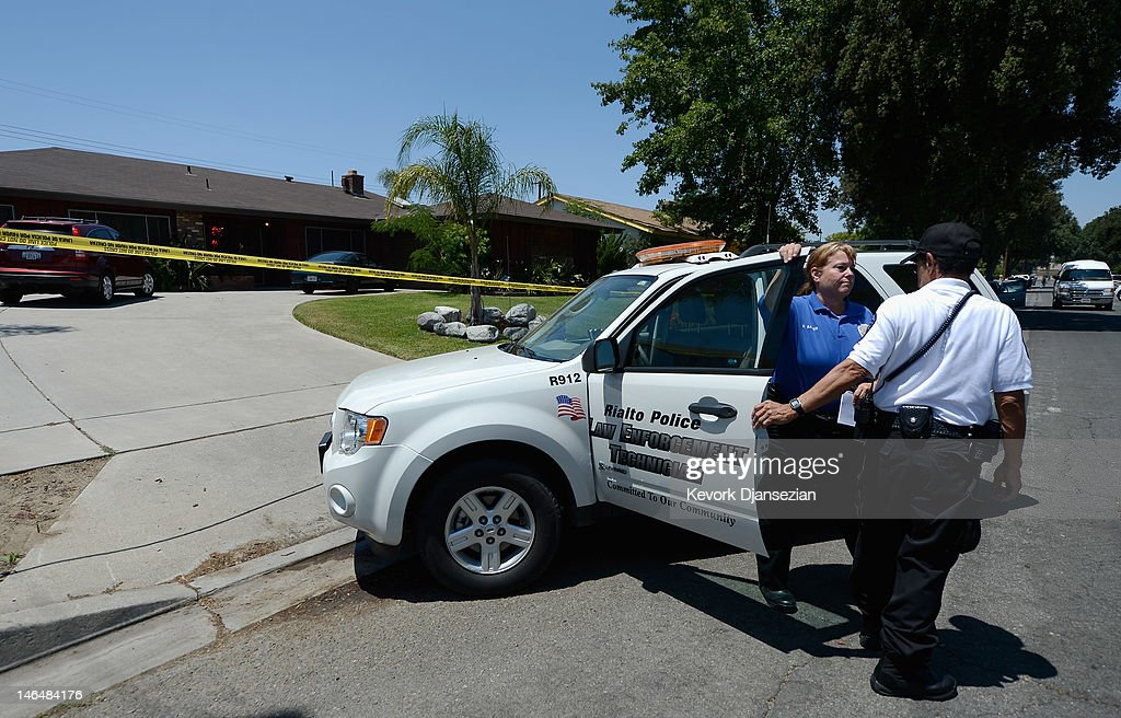 Rialto Police investigate the death of Rodney King on June 17, 2012 in Rialto, California. King, whose video beating by Los Angeles police in 1991 sparked riots after the acquittal of the four officers involved, was found dead at the age of 47 from an apparent drowning in his swimming pool.