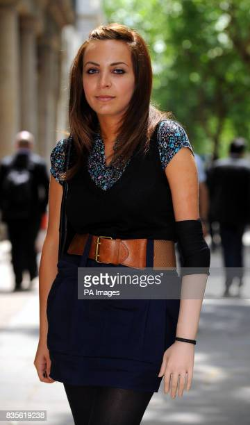 Riam Dean who wears a prosthetic arm arrives at an employment tribunal in London for the first day of her case against American retailer Abercrombie...