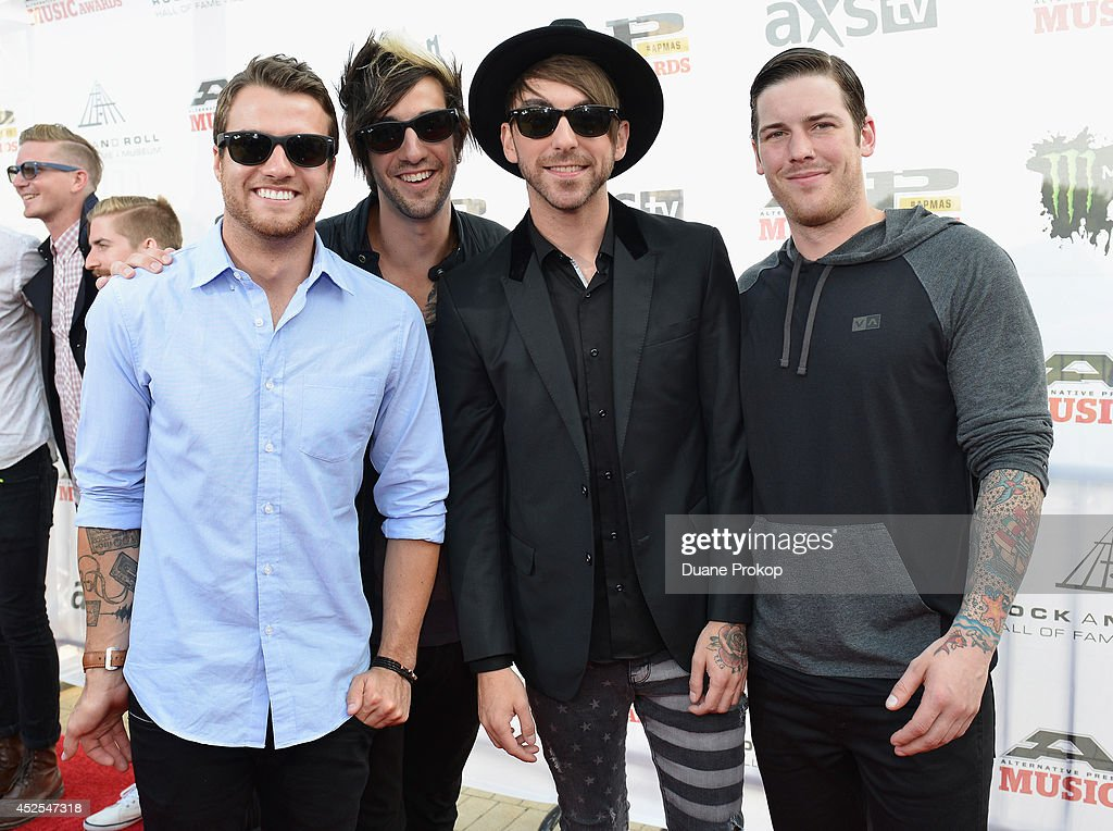 <a gi-track='captionPersonalityLinkClicked' href=/galleries/search?phrase=Rian+Dawson&family=editorial&specificpeople=5476081 ng-click='$event.stopPropagation()'>Rian Dawson</a>, <a gi-track='captionPersonalityLinkClicked' href=/galleries/search?phrase=Jack+Barakat&family=editorial&specificpeople=5314278 ng-click='$event.stopPropagation()'>Jack Barakat</a>, <a gi-track='captionPersonalityLinkClicked' href=/galleries/search?phrase=Alex+Gaskarth&family=editorial&specificpeople=5314280 ng-click='$event.stopPropagation()'>Alex Gaskarth</a> and Zack Merrickof All Time Low attend the 2014 Gibson Brands AP Music Awards at the Rock and Roll Hall of Fame and Museum on July 21, 2014 in Cleveland, Ohio.