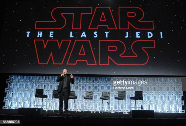 Rian Johnson attends the Star Wars The Last Jedi panel during the 2017 Star Wars Celebration at Orange County Convention Center on April 14 2017 in...