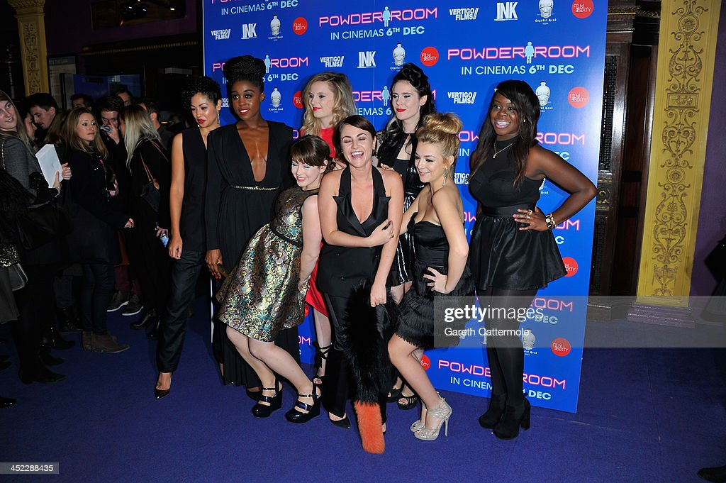 Riann Steele, Sarah Hoare, MJ Delaney, Kate Nash, Jaime Winstone, <a gi-track='captionPersonalityLinkClicked' href=/galleries/search?phrase=Sheridan+Smith&family=editorial&specificpeople=4159304 ng-click='$event.stopPropagation()'>Sheridan Smith</a> and Bunmi Mojekwu attend the UK Premiere of 'Powder Room' at Cineworld Haymarket on November 27, 2013 in London, England.