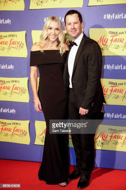 Rianna Jennifer Cantor and Ricky Ponting arrive ahead of opening night of My Fair Lady at Regent Theatre on May 16 2017 in Melbourne Australia