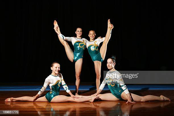 Rianna Mizzen Alex Eade Aliza Freeman and Eden Tarvit of Australia pose after claiming a bronze medal in the Women's Artistic Gymnastics Team...
