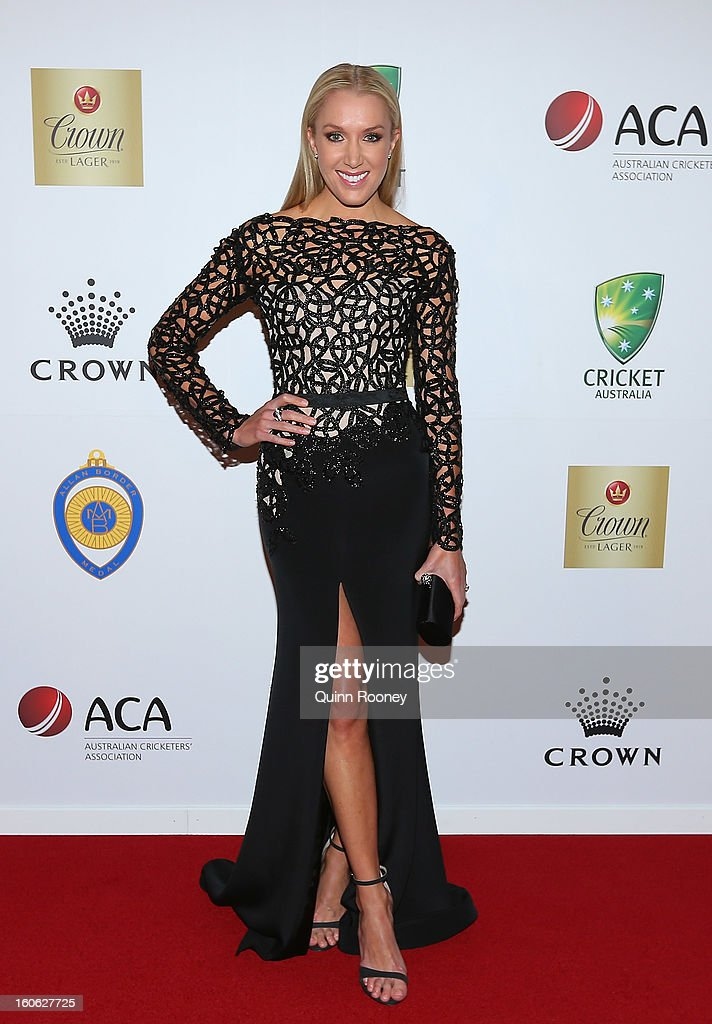 Rianna Ponting the wife of Ricky Ponting of Australia arrives at the 2013 Allan Border Medal awards ceremony at Crown Palladium on February 4, 2013 in Melbourne, Australia.