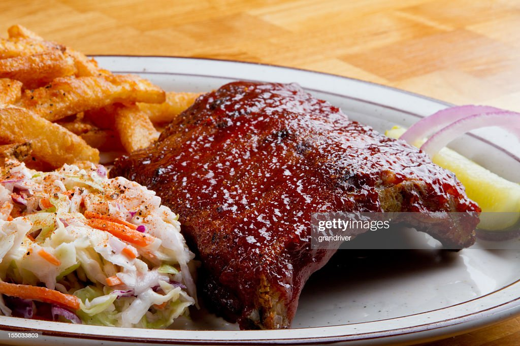 Rib Dinner with French Fries and Cole Slaw : Stock Photo