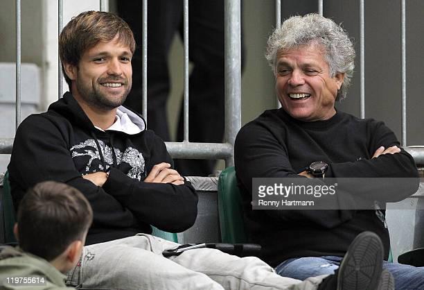 Ribas Da Cunha Diego and his father Djair Cunha attend the preseason friendly between VfL Wolfsburg and Villarreal at Volkswagen Arena on July 24...