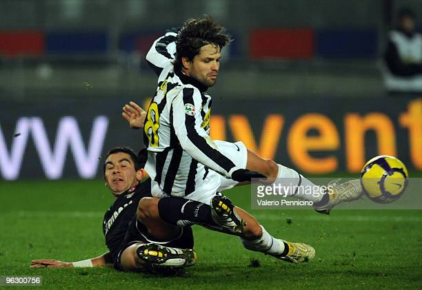 Ribas Da Cunha Diego of Juventus FC clashes with Aleksandar Kolarov of SS Lazio during the Serie A match between Juventus FC and SS Lazio at Stadio...