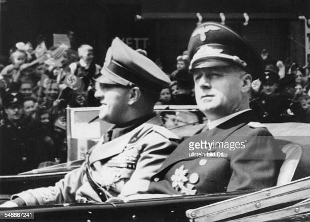 Ribbentrop Joachim von Politician NSdAP Germany the minister of foreign affairs with his italian ministerial colleage Galeazzo Count Ciano driving in...
