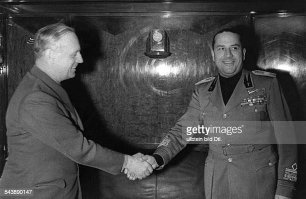 Ribbentrop Joachim von Politician NSDAP Germany*30041893German Foreign Minister 19381945 with the Italian Foreign Minister Galeazzo Ciano on the...