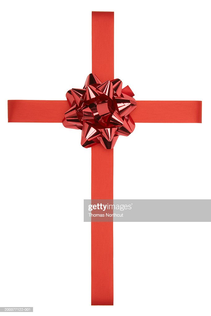 Ribbon and bow, overhead view : Stock Photo