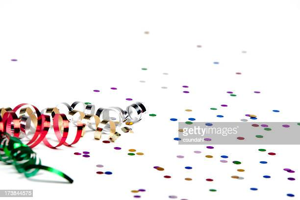 Ribbon and confetti isolated on white