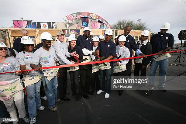 A ribbon cutting ceremony takes place for the Habitat for Humanity House as part of the NBA Cares Habitat for Humanity construction event on February...