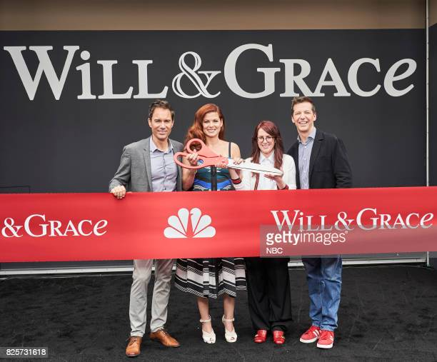 WILL GRACE 'Ribbon Cutting' Pictured Eric McCormack Debra Messing Megan Mullally Sean Hayes