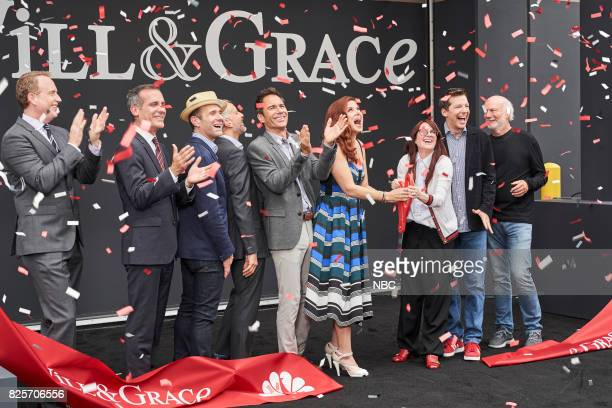 WILL GRACE 'Ribbon Cutting' Pictured Robert Greenblatt Chairman NBC Entertainment Eric Garcetti Mayor of Los Angeles David Kohan Executive Producer...