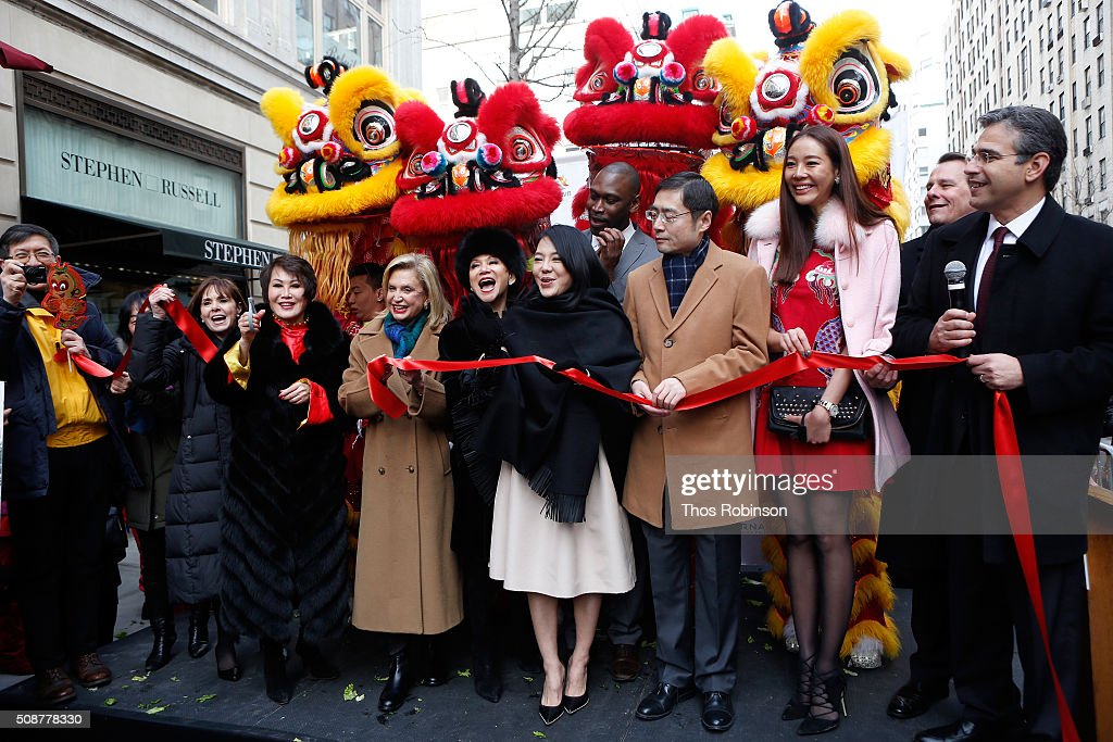 Ribbon cutting to celebrate the partnership between Madison Avenue BID and the Shanghai Bund Association at Madison Street To Madison Avenue Lunar New Year Celebration on February 6, 2016 in New York City.