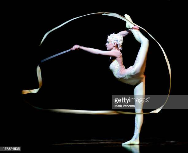 Ribbon performer of Cirque du Soleil performs 'Alegria' at Ahoy on December 6 2012 in Rotterdam Netherlands