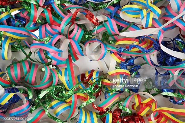 Ribbons and confetti, full frame