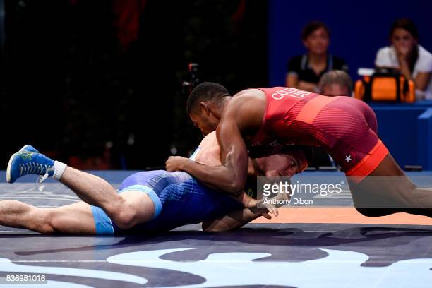 Ribeiro Roma of Brazil and E Coleman of USA during the Men's 66 Kg GrecoRoman competition during the Paris 2017 World Championships at AccorHotels...