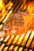 Ribeye Steak on Grill with Fire