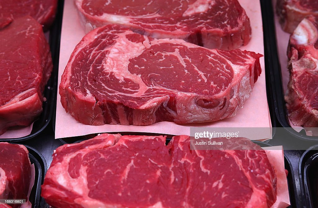 Ribeye steaks are displayed at Woodlands Meats on May 8 2013 in Kentfield California With US cattle and calf herds at their lowest levels since 1952...