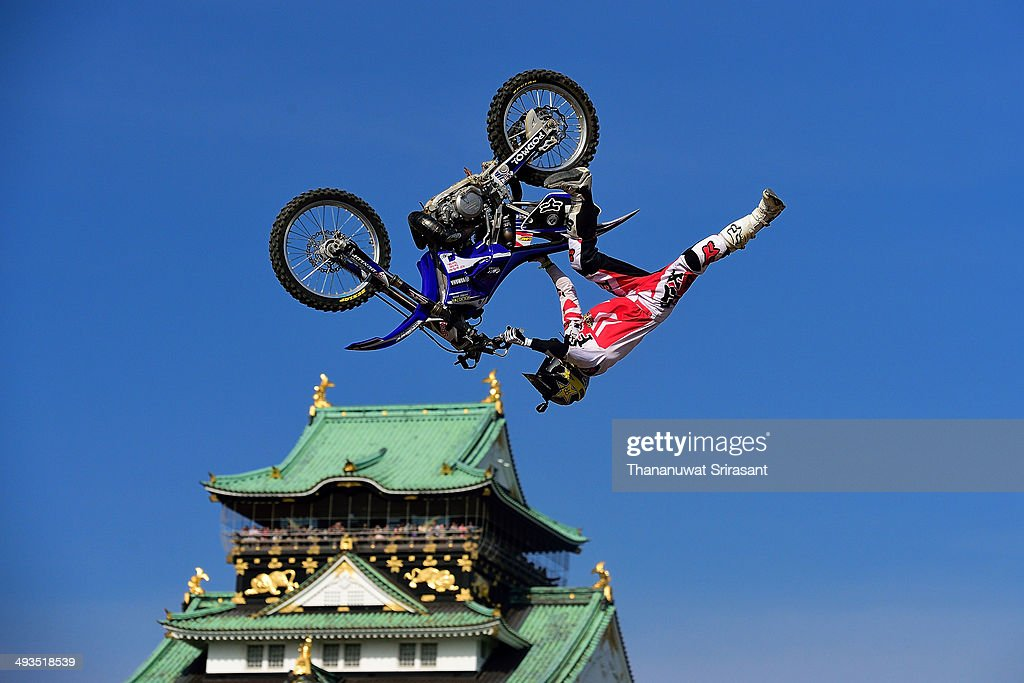 Ribor Podmol of Czech Republic with Yamaha YZ250 competes during qualifying for the Red Bull XFighters World Tour on May 24 2014 in Osaka Japan