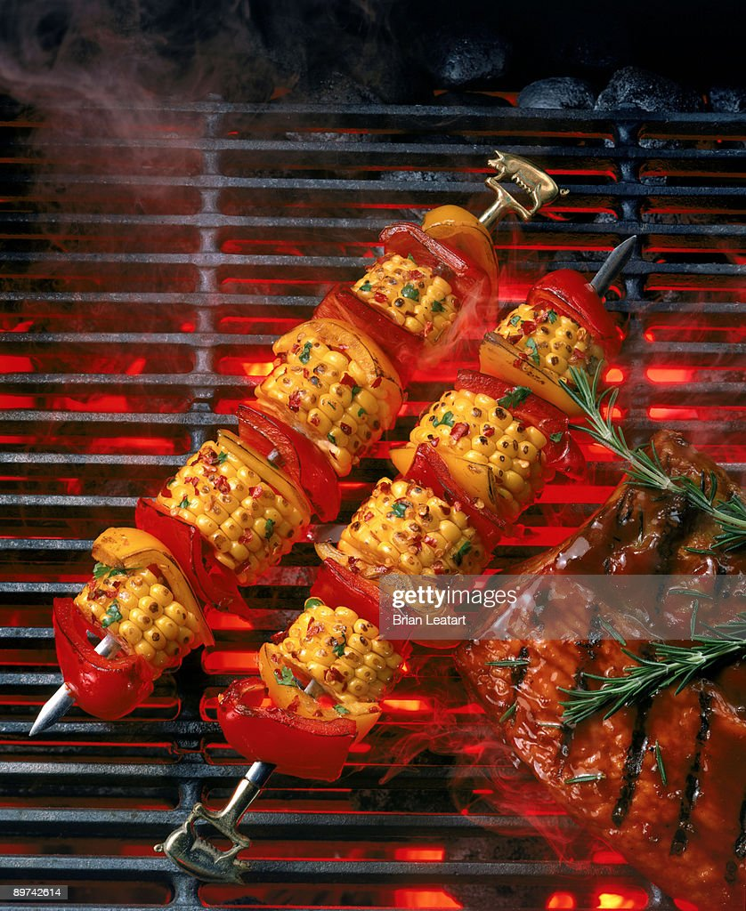 Ribs and vegetables kabob on grill : Stock Photo