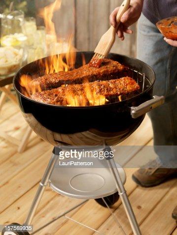 Ribs on a Charcoal BBQ