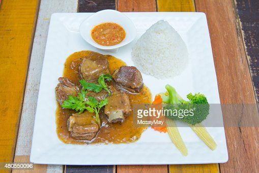 ribs pork with sweet sauce and rice : Stock Photo