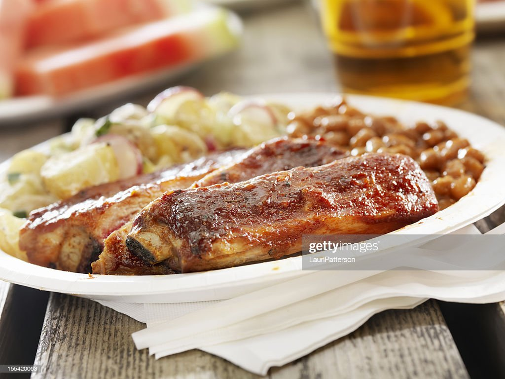 BBQ Ribs with a Beer : Stock Photo