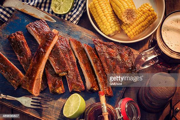 BBQ Ribs with Steamed Sweetcorn