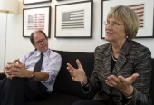 Ric Burns director and Drew Gilpin Faust author and Harvard University president during an interview about their latest project a PBS documentary...