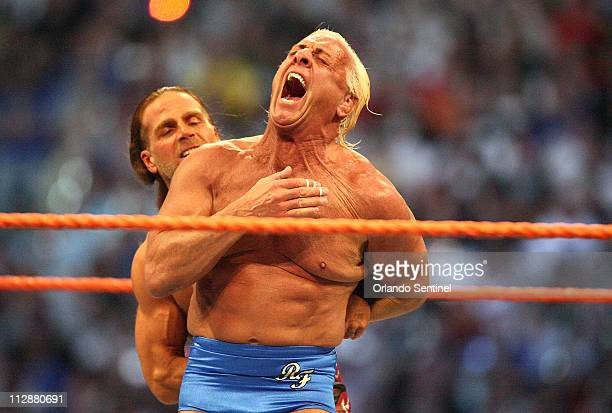 Ric Flair and Shawn Michaels wrestle in the Career Threatening Match at WrestleMania XXIV at the Citrus Bowl on Sunday March 30 in Orlando Florida