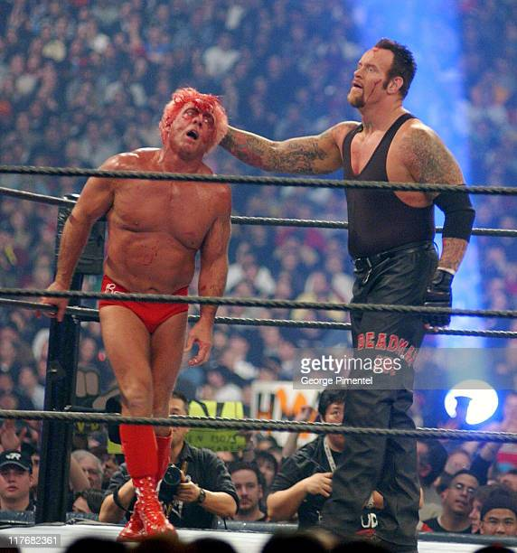 Ric Flair and The Undertaker at Wrestlemania X8 during WWF Wrestlemania X8 at Sky Dome in Toronto Ontario Canada