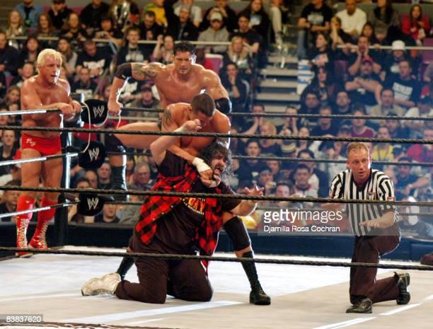 Ric Flair Batista Randy Orton and Mick Foley